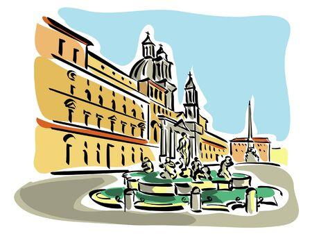 Rome  Piazza Navona  Stock Vector - 17438433