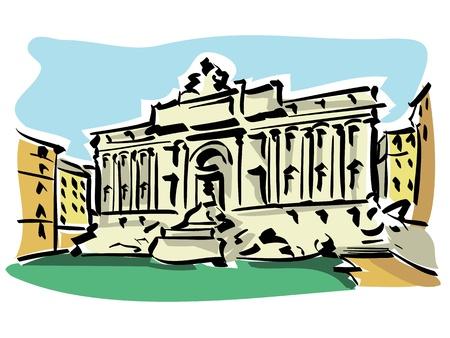 pilasters: Rome  Trevi Fountain  Illustration