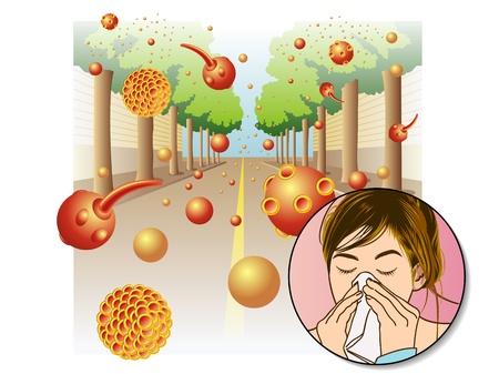 asthme: L'allergie au pollen Illustration