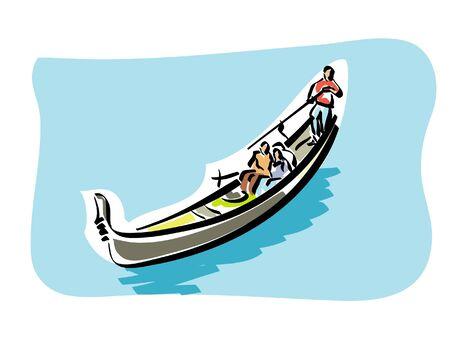 boatman: Venetian gondola Illustration