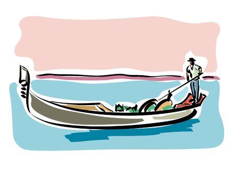 gondolier: Venetian gondola Illustration