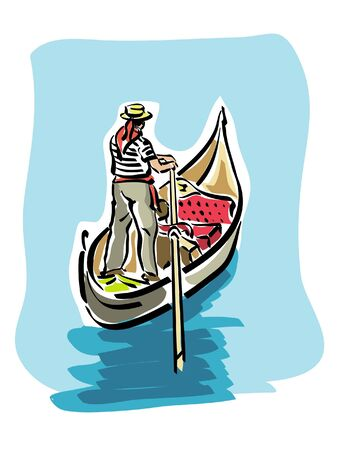 venice italy: Venetian gondola Illustration