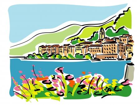 lake como: Comomeer (Italië) Stock Illustratie
