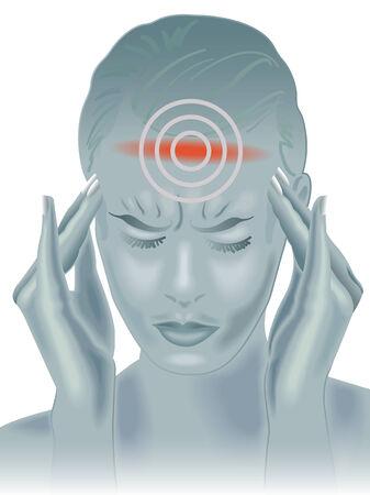 cervicales: dolor de cabeza  Vectores