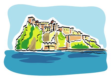 イタリアのイスキアのアラゴン城のベクトル イラスト