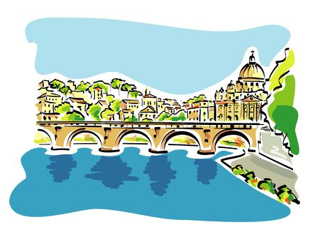 Vector illustration of Rome panorama, with the tiber river in the foreground, and the st. Peters cathedral in the background Illustration