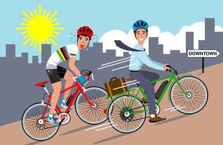 電動自転車の象徴的なベクトル イラスト  イラスト・ベクター素材