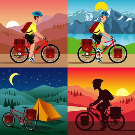 벡터 일러스트 레이 션의 자전거 여행입니다.