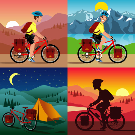 vector illustration of the bicycle touring. Vectores