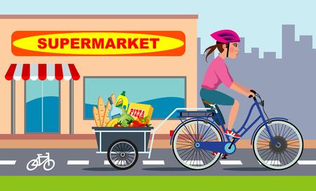 食料品の完全なトレーラーで電動自転車に乗って女の子は、自転車レーンに沿って実行します