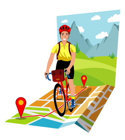 Symbolic vector illustration of the bicycle touring Imagens - 94981681