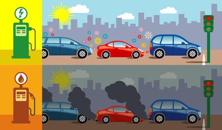 전기 자동차에 비해 가솔린 자동차에 의해 생성 된 대기 오염을 보여주는 상징적 인 벡터 일러스트 레이 션. 일러스트