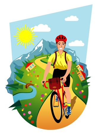 Symbolic vector illustration of the bicycle touring.