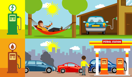 symbolic vector illustration showing the possibility to recharge the electric car at home, instead of queuing at the gas station Imagens - 101040768