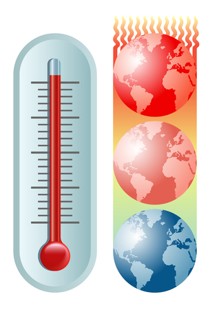 symbolic vector illustration of the global warming and climate change with a thermometer and the planet Earth moving towards hotter and hotter temperatures Stock Illustratie