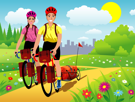 Colorful illustration of two smiling bicyclists, with a bike and a female, riding on a country path. Vettoriali