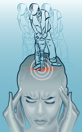 An illustration of a woman holding her head, eyes closed and working with a pneumatic drill on their skull.