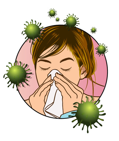 A medical illustration of a girl affected by the cold virus. Stock Illustratie