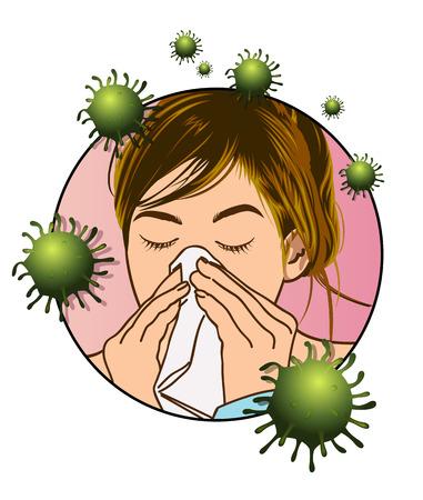 Eine medizinische Illustration eines Mädchens, das vom Erkältungsvirus betroffen ist.