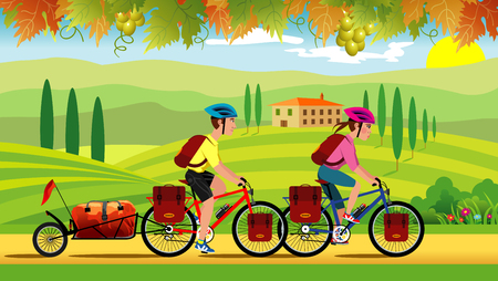 Illustration of a man and woman cycling through the Tuscan countryside. The mans bike has a trailer for camping equipment, background of farmland and grape decoration.