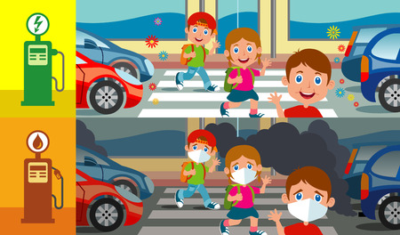 A colorful illustration showing three happy children on the pedestrian crossing. Imagens - 118489838
