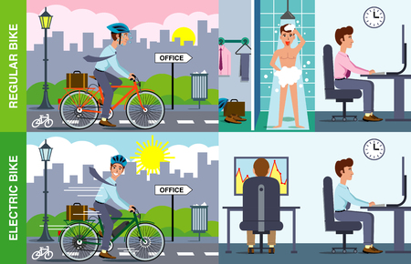 Illustration of a man using an electric bike to arrive at office ready to work.