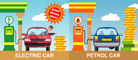 Illustration of a red electric car refueled by a battery charging point with a blue car refueled from a petrol pump with a shaped red car sign