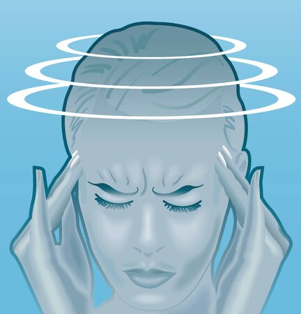 Symbolic illustration of a young woman with the symptoms of labyrinthitis, a problem deep inside the inner ear, that may cause sudden vertigo.