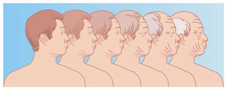 Simple illustration shows the progressive aging of the face of a man.