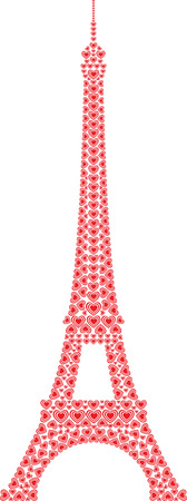 Eiffel Tower Paris made from love hearts
