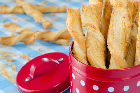 twists: Cheese twists pastry into a red box