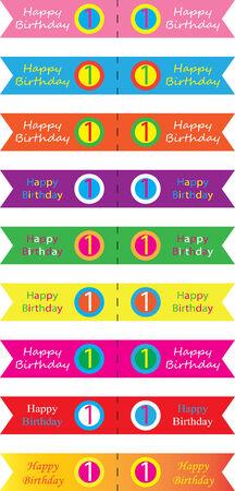 Happy birthday cupcakes flag 1 year old  Vector