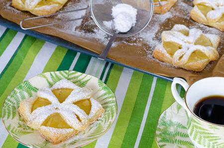 breackfast: Breackfast home made pineapple pies with coffee