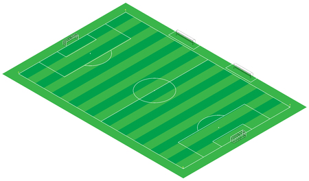 Footbal  soccer  3d Illustration field  stadium  represented 1 1 scale  100m x 65m  illustration