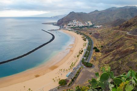 The beach Playa de las Teresitas from canarian island Tenerife, Spain photo