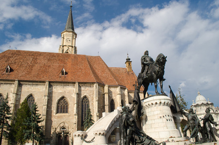 The Church of Saint Michael is a Gothic-style Roman Catholic cathedral in Cluj, second largest church in Transylvania, Romania, completed in 1442-1447.Statue of King Mathias (Matyas, Matei, Corvinus)