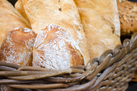 Fresh bread in the basket photo
