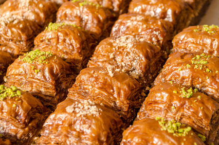turkish dessert: Delicious turkish dessert Baklava with pistachio
