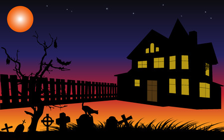 haunted: Halloween background with cemetery,house and fence silhouettes in the moon light.Vector illustration.