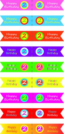 2 years: Cupcake flags for 2 years old. Happy birthday vector illustration.