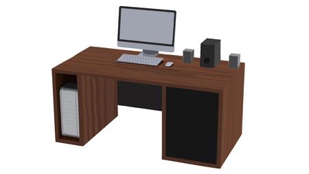 speakers desk: Vector illustration of workplace desk in office or home. Illustration