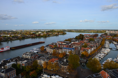 dordrecht: Aerial photo taken from Church of Our Lady, in the city of Dordrecht, Netherlands. Stock Photo