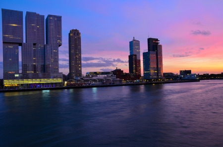 City of Rotterdam downtown skyline at dusk in South Holland, Netherlands,