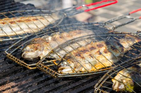 Grilled fish. Barbecue
