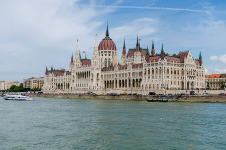 The Hungarian Parliament Building on the bank of the Danube in Budapest Stok Fotoğraf