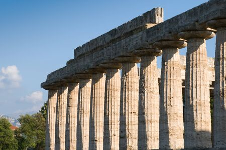 valley of the temples: temples of Paestum columns Valley Stock Photo
