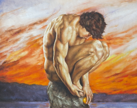 crouches: oil painting of a boy who crouches