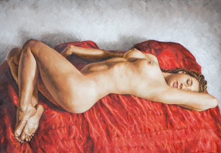 oil painting on canvas of a young woman photo