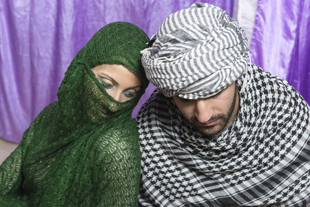 keffiyeh: young man with his beloved neighbor