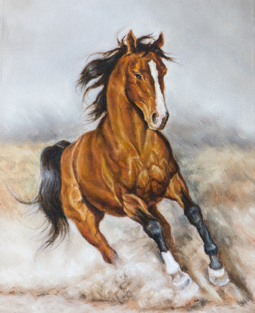 oil painting of a horse on the prairie